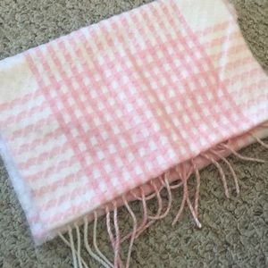 Pink and white plaid scarf